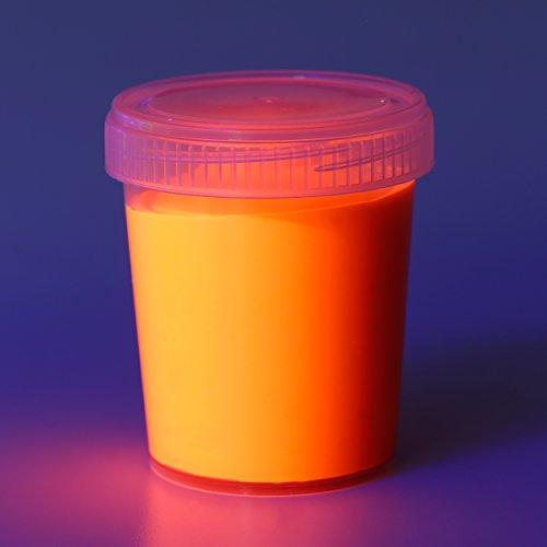 Fluoreszierende Schwarzlicht Wandfarbe und für Kunst, Holz, Papier und Wohnraum | Neon Leuchtfarben mit Glow-Effekt | Fluoreszierende Farbe | Farbe: orange ()