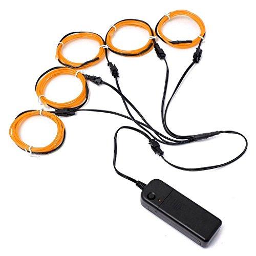 (R) 5x 1m EL Wire EL Kabel Neon Beleuchtung leuchtschnur fuer Weihnachtsfeiern Rave Partys Halloween Kostuem + Batterie Box, Gelb ()