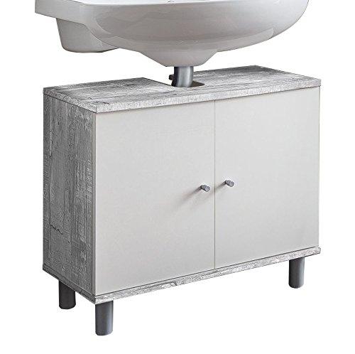 WILMES 85009-57 0 75 Badmöbel, Badezimmerunterschrank, Unterbeckenschrank Holz, Beton/Weiß Melamin Dekor, 32 x 60 x 55 cm