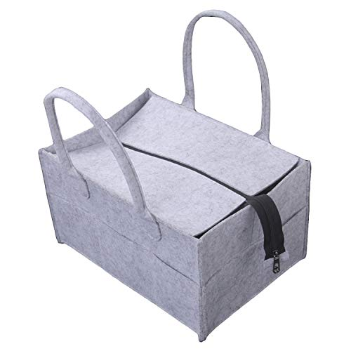 Portable BéBé Feutre Couche-Culotte Sac Organisateur Avec Compartiments Interchangeables Zipper Pour Maman Cadeau De Douche Voyage Gris