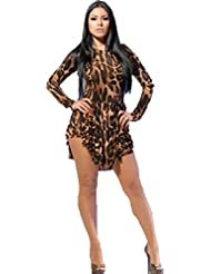 TYERY Leopard Robe À Manches Longues