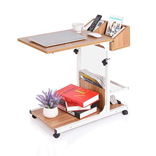 GWM Schreibtische Laptop Table Bedbed Table Sofa Beistelltisch Laptopwagen Beweglicher Nachttisch Höhenverstellbar mit Ablagetisch, 50x40x55-80cm (Farbe : Eiche) -