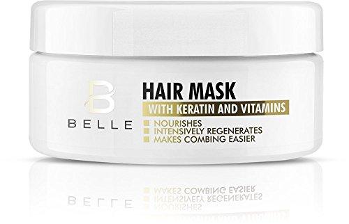 Belle® Haarmaske mit Keratin und Vitamine–Deep Repair Masque Für Trockene, shineless, beschädigt und zerbrechlichen Haar–spendet Feuchtigkeit und pflegt beschädigt und geschwächten Haar–REDUZIERT die Tendenz zu Spliss–300ml