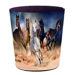 TETAKE Papierkorb Kinder mit Motiv Pferd, 10L Papierkörbe Kinderzimmer, Abfalleimer aus Leder, Wasserdicht Mülleimer…