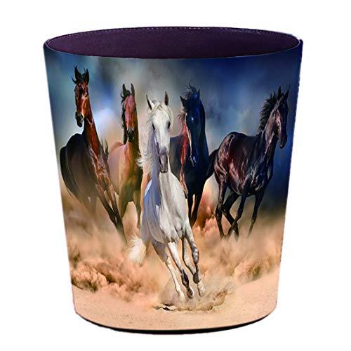 Batop Papierkorb, 10L PU Leder Wasserdicht Vintage Papierkorb Mülleimer mit Pferd Motif Dekorativ Papierkorb für Büro, Wohnzimmer, Schlafzimmer