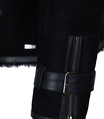 Damen TIGHA Lederjacke Luana mit Lammfell schwarz – black black M - 4