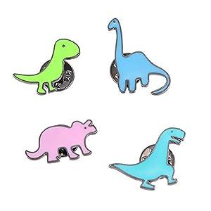 @Y.T 4-teilige Kombination kindliche niedliche Tierdinosaurier Jungen und Mädchen Brosche Hemd Kleidung Tasche Pin