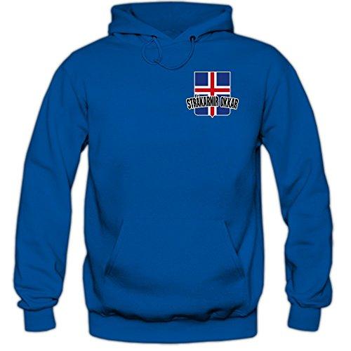 Island EM 2016 #5 Kapuzenpullover | Fußball | Herren | Strákarnir okkar | Trikot | Nationalmannschaft, Farbe:Blau (Royalblue F421);Größe:XL