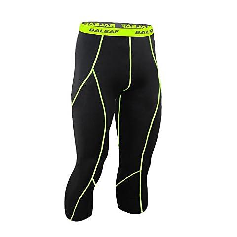 Baleaf Collant de running fitness 3/4 pour homme, avec aération, tenue de compression XXL Black Fluorescent Yellow