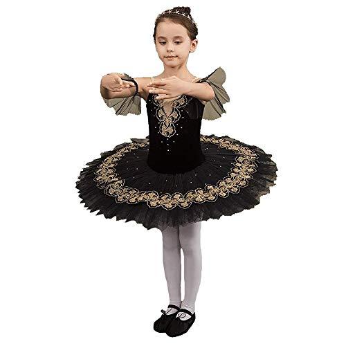 HUO FEI NIAO Tanzkostüm - Kinder Ballett Kleid Professional Rock Rüschen Spitzenrock (Farbe : SCHWARZ, größe : ()