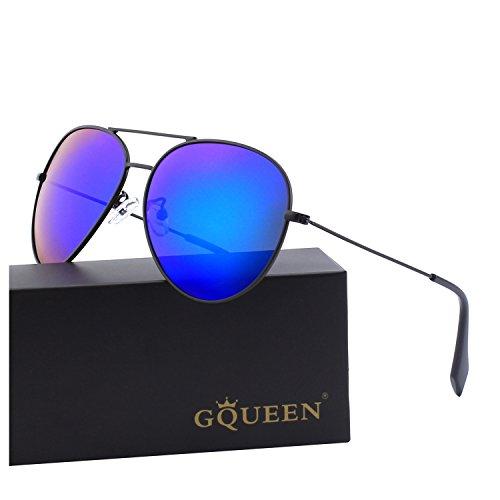 GQUEEN Sonnenbrille Polarisiert Piloten Sonnenbrille Pilot Flieger Pilotenbrille Herren MZZ9