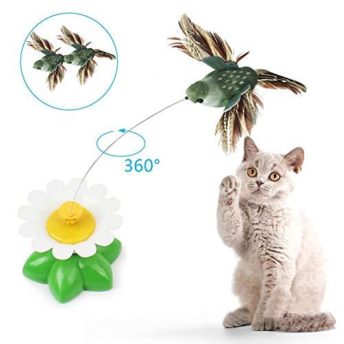 perfecti - Giocattolo Elettrico a Forma di Gatto, interattivo, Rotazione a 360°, Piccolo Uccellino Teaser Giocattolo, Giocattolo, Giocattolo per Gatti, Allenamento, Occupazione (Colore Casuale)