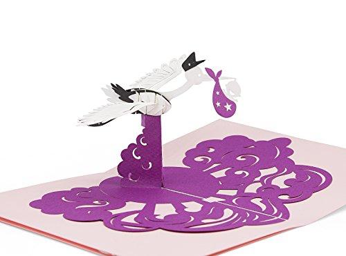 Glückwunsch-Karte zur Geburt mit extra Gruß-Seite, hochwertige Klapp-Karte für Mädchen, lila 3D Pop-Up Geburtskarte mit Storch & Baby zur Gratulation