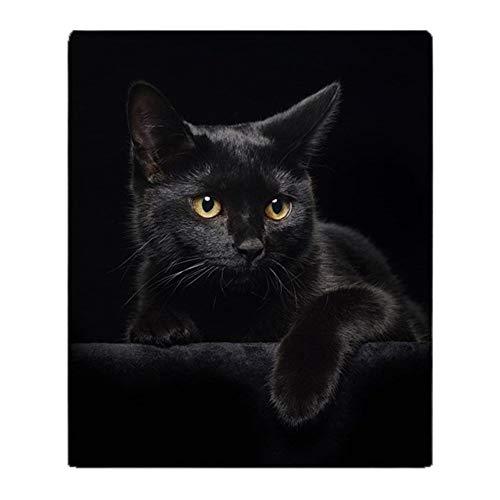 YISUMEI Decke 150x200 cm Kuscheldecken Sanft Flanell Weich Fleecedecke Bettüberwurf Schwarze Katze