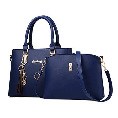 Linkay Neuer HeißEr Verkauf Mode Wild Damen Tasche Handtasche Griff Satchel Purse Set 2tlg UmhäNgetasche Rucksack-Dunkelblau
