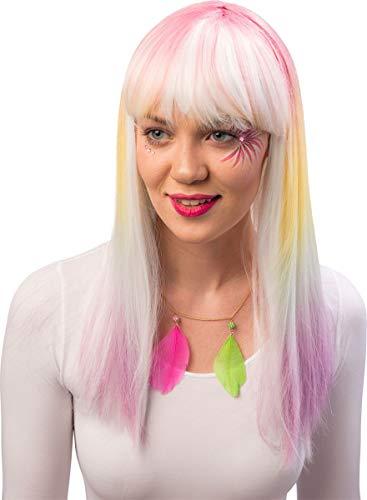 Damen Langhaar Perücke Pastell - Ideal für Cosplay, Fasching und Mottoparty zu Ihrem Kostüm ALS Meerjungfrau, Einhorn, Fee, Candy Girl oder Hippie