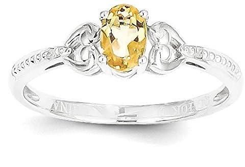 IceCarats 10k White Gold Yellow Citrine Diamond Band Ring Size 7.00 Stone Birthstone November Oval