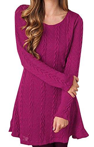 Donna Magliette Tumblr Invernali Semplice Maglia Vestito Ragazza Maglieria Pullover Casual Tunica Mini Abito Tinta Unita Maglione Manica Lunga RoseRed