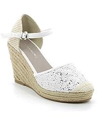 Yuncai Donna Elegante Squisito Piattaforma Zeppa Sandali Moda Traspirante Scarpe da Principessa Bianco 35