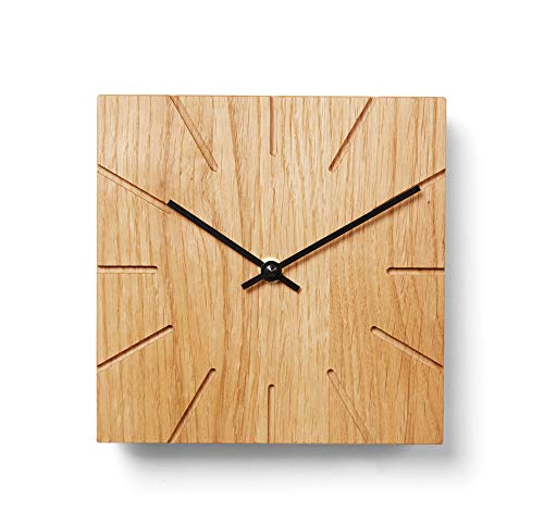 Natuhr Funkuhr Wanduhr Tischuhr Holz - Beam - geräuscharm Massivholz modern Design 17 x 17 cm (Eiche geölt Schwarze Zeiger, Funkuhrwerk)