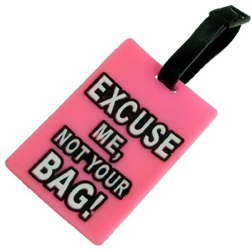TOOGOO(R) Etiqueta de equipaje de plastico suave de forma de rectangulo rosada con etiqueta de nombre