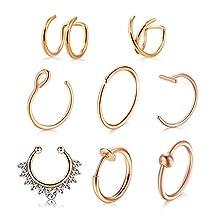 AVYRING 8 Stück 20G Chirurgenstahl Fake Nasenpiercing Clip On Ear Cuff Cartilage Septum Piercing Tragus Ohr Piercing Köper Schmuck - Rose Gold