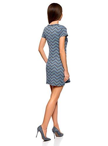 oodji Ultra Damen Jerseykleid mit Zickzack Muster Blau (2975S)