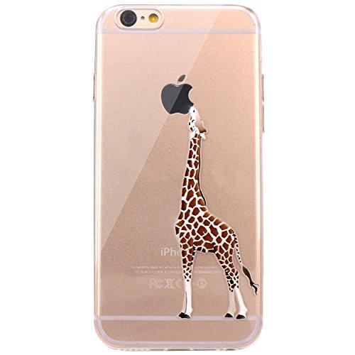 JIAXIUFEN Neue Modelle TPU Silikon Schutz Handy Hülle Case Tasche Etui Bumper für Apple iPhone 6 6S - Amüsant Wunderlich Design Giraffe eating Apple Color29