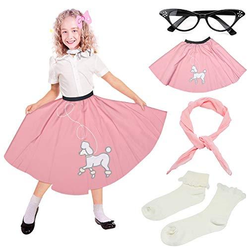 Pudel Rock Kostüm Zubehör - Beelittle 4 Stück 50er Jahre Mädchen Kostüm Zubehör Set - Vintage Pudel Rock, Chiffon Schal, Cat Eye Brille, Bobby Socken (I-Pink)