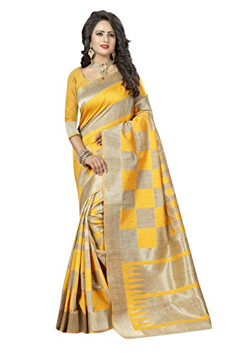 Viva n Diva Sarees for Women's Beige And Yellow Colored Banarasi Silk...