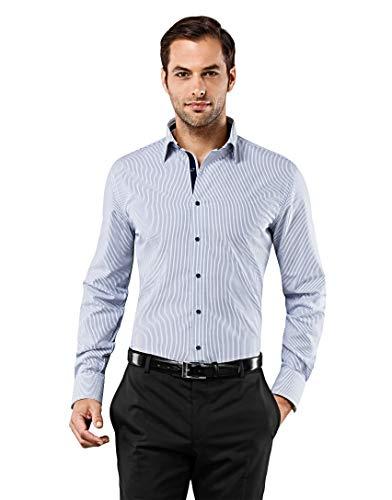 Vincenzo boretti camicia uomo eleganti, taglio aderente/slim-fit, collo classico, manica lunga, a righe con inserti in contrasto - non stiro/non-iron blu/bianco 43/44