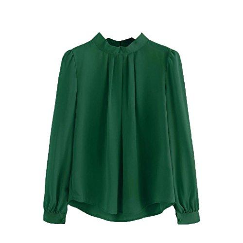 Bluse Damen, DoraMe Frauen Halbhohe Kragen Chiffon Bluse Laterne Ärmel Shirt Locker Lässig Hemd (2XL, Grün) (Chiffon Jeans)