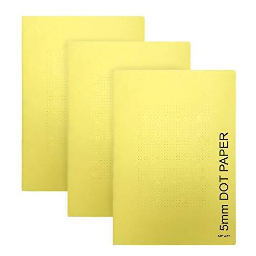 Artway - Pack de 3 cuadernos de tamaño A4 - Papel pautado con puntos a 5 mm