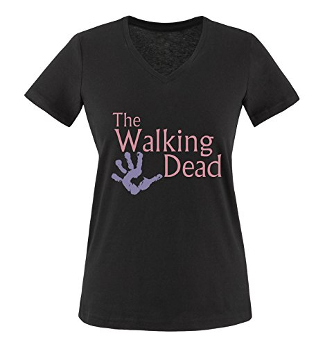 Comedy Shirts - The Walking Dead Hand - Damen V-Neck T-Shirt - Schwarz / Rosa-Violett Gr. M (Hand T-shirt Dead Mans)