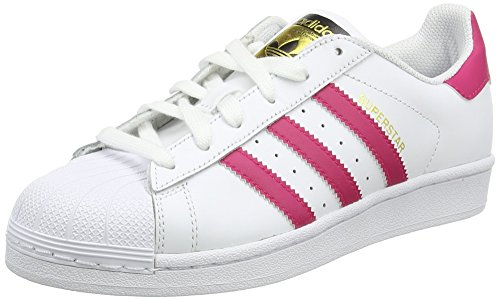 adidas Originals Superstar Foundation B23644, Mädchen Low-Top Sneaker, Weiß (Ftwr White/Bold Pink/Ftwr White)