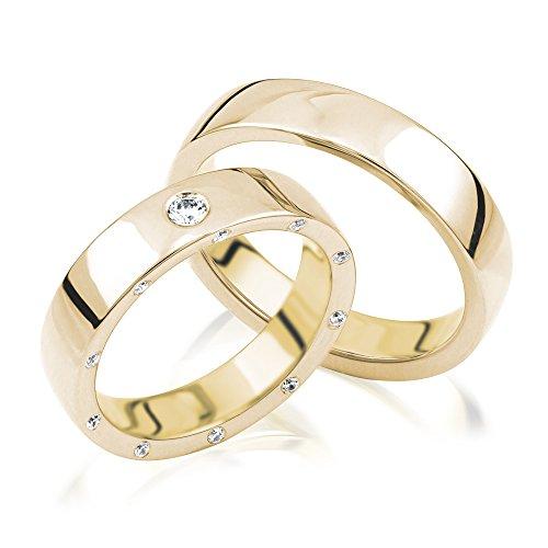 2x Eheringe Partnerringe Trauringe Verlobungsringe Freundschaftsringe Gold Plattiert *mit Gravur und Steinen*