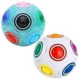 Coolzon Palla Magica Arcobaleno, Cubo Magico Magic Ball Puzzle Cube, Regali Giocattoli per Bambini, 2 Pack