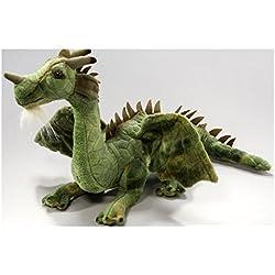 Peluche - Dragón verde sentado (felpa, 30cm)