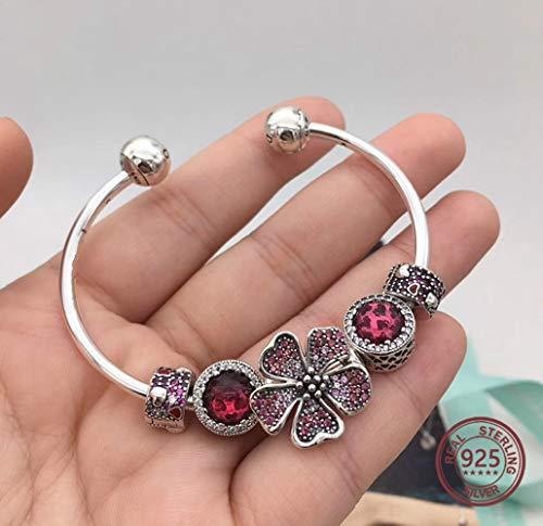FRLISR Armband,925 Sterling Silber Cherry Blossom Reihe Pan-Armreif Pink Öffnen Wunderschöne Armband Original Schmuck, 17,5 cm - Reihe Pan