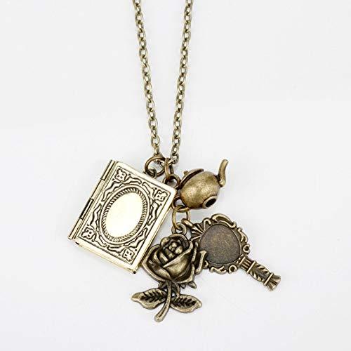 DADATU Halsketten für Herren Schönheit Und Tier Halsketten Vintage Buch Rose Blume Schlüssel Anhänger Halskette Halsband Viktorianischen Schmuck Zubehör (Bücher Vintage Kostüm Schmuck)