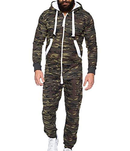 (kasonj Einteiliger Ganzkörper-Ganzkörper-Jumpsuit-Bademantel für Männer aus Jogginganzug)