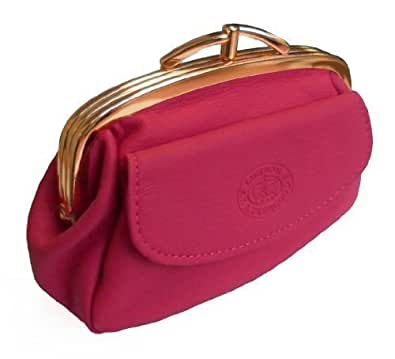 Brand New Womens Ladies Quality Pigskin Leather Clasp Close Coin Purse Money Pouch (Black/Tan/Beige/Red/Purple/Cerise Pink/Light Pink) (Cerise Pink)
