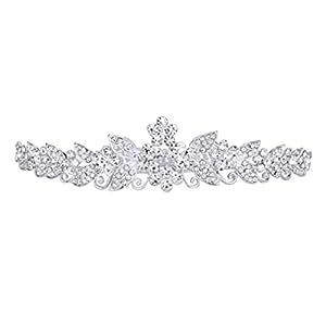 VORCOOL bel matrimonio sposa strass di cristallo lucente corona Tiara cerchietto fascia per capelli con il pettine (argento)