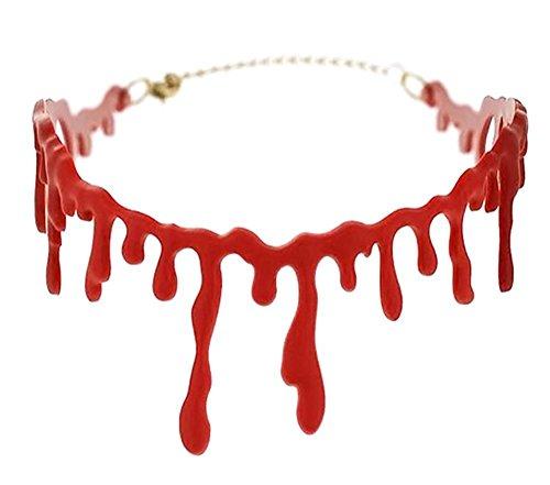 jiastone blutigen Narbe Halskette Tropfendes Blut Horror Horrible dünn Drip Rot Blut Kette Gothic Creepy Collier für Halloween Party (Creepy Kostüme Kid)