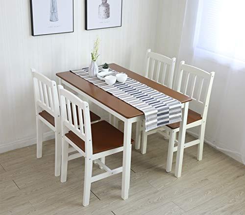 Tischgruppe mit 1 Tisch 4 Stühle Essgrupp Esstischset Sitzgruppe Esstischgruppe Esszimmergarnitur für 4 Personen Esszimmergruppe für Küche Wohnzimmer Massivholz 6116 (3.Braun/Weiß)