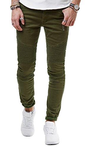 EightyFive Herren Jogger Jeans Biker Hose Gerippt Slim Fit Schwarz Khaki EF6013, Hosengröße:W29 L32, Farbe:Khaki (Khaki Herren-jeans)