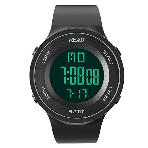 Read Herren Digitaluhr Outdoor Sportuhren mit Alarm Stoppuhr Kalender, LED-Anzeige R90003