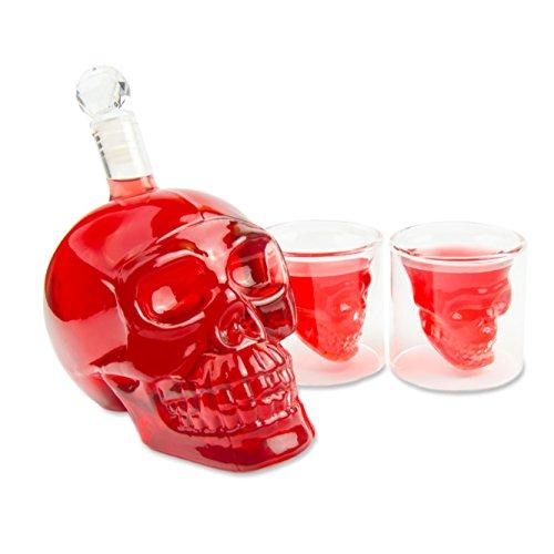 550ml) mit 2 Totenkopfgläser (70ml) für die Hausbar, Party, Geschenk im Totenkopfdesign, Vodka, Whiskey- Flasche, Kristallschädel, Weindekanter, Schnapsglas, Farbe: Transparent (Totenkopf Weihnachts-dekorationen)