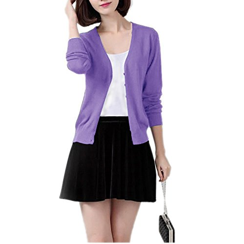 Winfon Damen Strickjacken Stricken Cardigan Elegant Basic Mit V-Ausschnitt Langarm Button Strick Tops (L(Brustumfang 96cm), Lila-blau) (Strickjacke Lila)