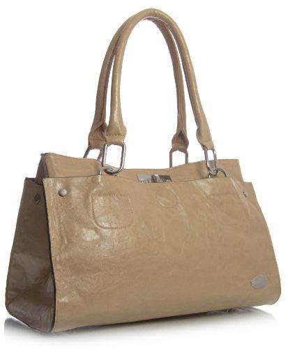 Big Handbag Shop Sac à main rectangulaire en imitation cuir porté épaule - Beige - Tuscan Beige, One